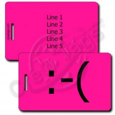 PERSONALIZED FROWN EMOTICON LUGGAGE TAG  :-(  NEON PINK